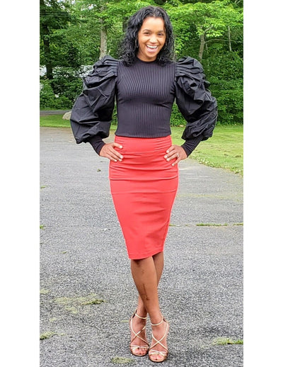 Chameleon Midi Knee Length Pencil Skirt Coral