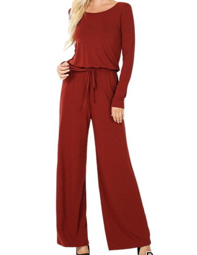 Classy and Comfortable Romper With Back Keyhole Opening Dark Rust