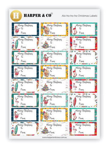Alo-ho-ho-ho Christmas Labels - Harper & CO AU