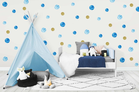 Blue Polkadot Wall Decals - Harper & CO AU