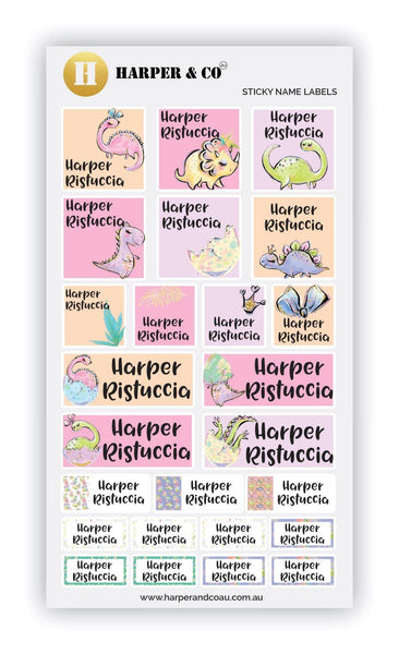 Pink Dinos - Harper & CO AU Name Labels, Name Stickers, Kids Labels, Kids Stickers