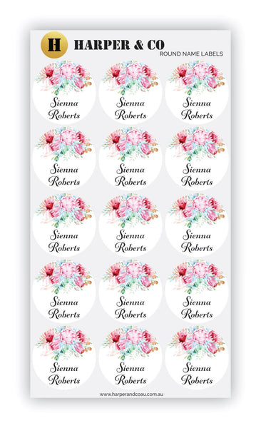 Protea Round - Harper & CO AU Name Labels, Name Stickers, Kids Labels, Kids Stickers