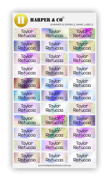 Shimmer & Sparkle - Harper & CO AU Name Labels, Name Stickers, Kids Labels, Kids Stickers