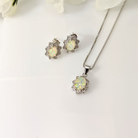 sterling silver and created opal pendant and earring set