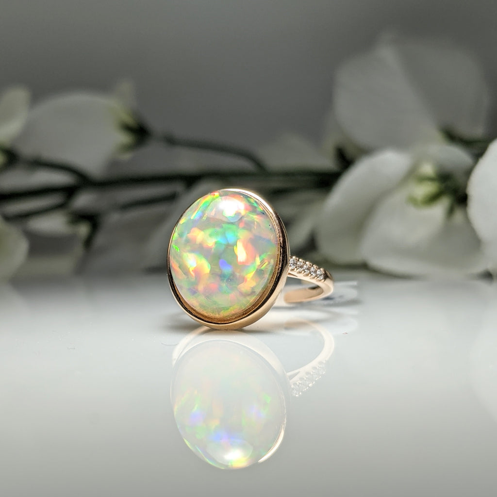 14k rose gold Ethiopian Opal and Diamond ring