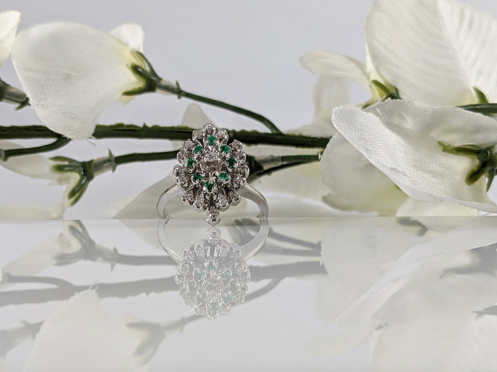14kw vintage gold, diamond and emerald ring.19.52mm at the top. finger size 6.25.  $800.00