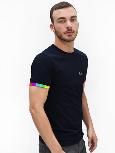 Navy Blue Rainbow Sleeve T-shirt PRE-ORDER