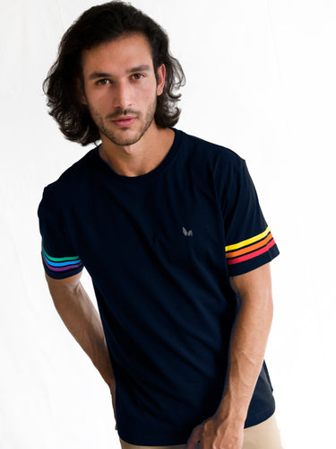 Navy Blue Rainbow Stripe Sleeve T-shirt PRE-ORDER