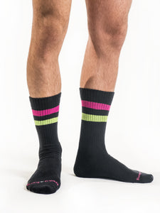Neon Black Retro Socks