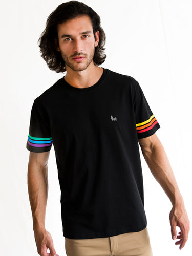 Black Rainbow Stripe Sleeve T-shirt PRE-ORDER