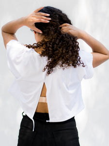California Tie-back White Crop Top