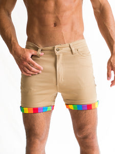 Light Camel Roll-up Rainbow Short Shorts PRE-ORDER