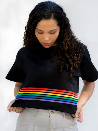 California Black Striped Crop Top