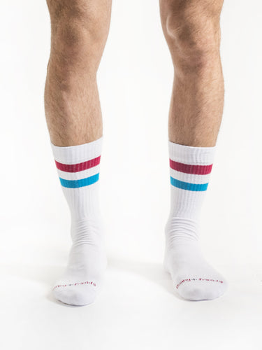 Pink Blue White Retro Socks