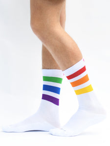 Pride Socks PrideBunny White Striped Rainbow Socks