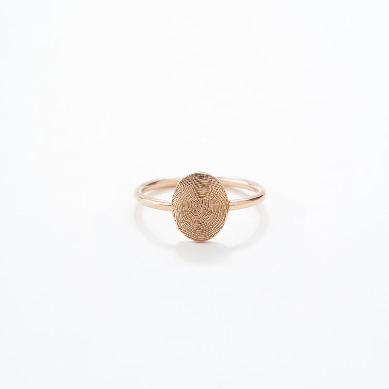 Fingerprint Oval Ring