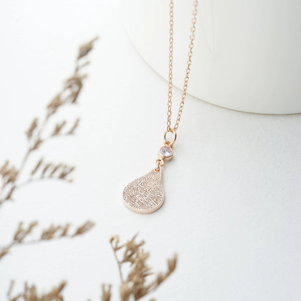 Fingerprint Tear Drop Necklace