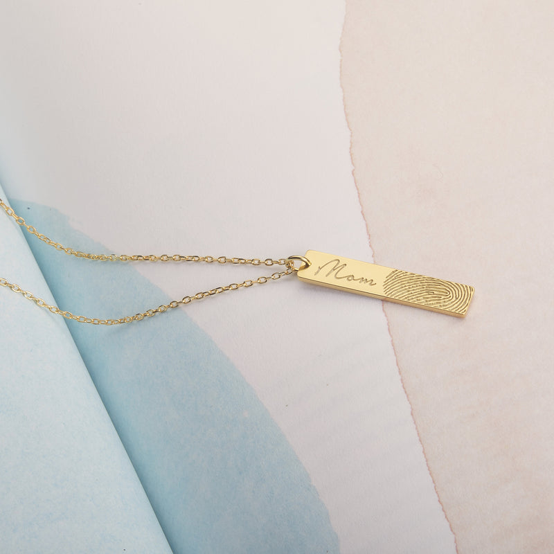 Fingerprint  & Handwriting Bar Necklace