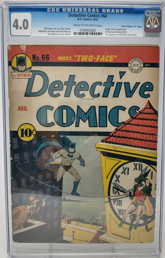 Detective Comics #66 CGC 4.0 Very Good - 1st Appearnace of Two-Face