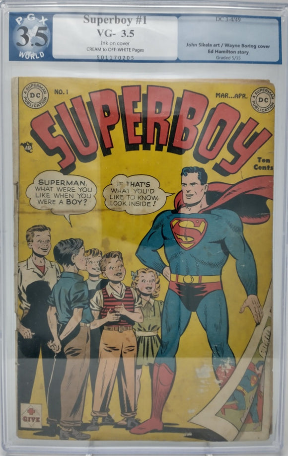 Superboy #1 ~ DC 1949 ~ PGX 3.5 ~ Superman Cover & Appearance