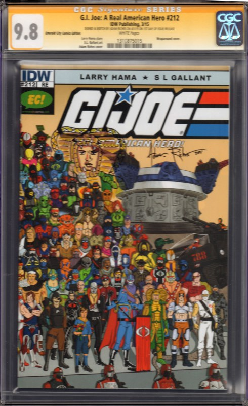 G.I. Joe: A Real American Hero #212 EC Exclusive Variant Signed by Adam Riches CGC 9.8  Serpentor Sketch