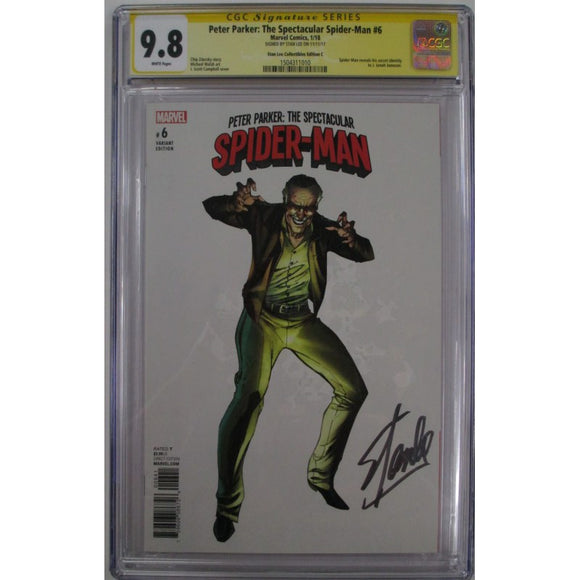 PETER PARKER: THE SPECTACULAR SPIDER-MAN (2017 SERIES) STAN LEE COLLECTIBLES VARIANT C #6 CGC SIGNATURE SERIES 9.8 SIGNED BY STAN LEE