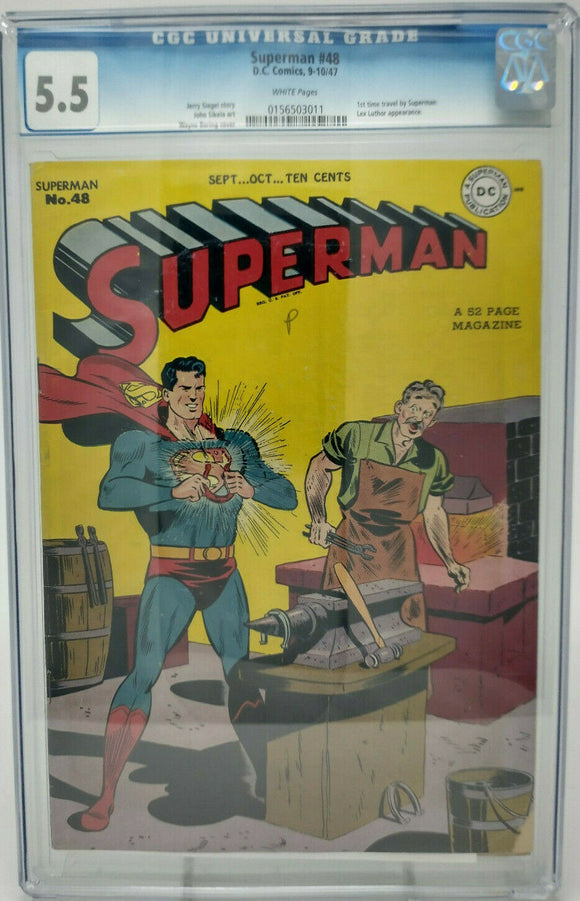 Superman #48~ DC 1947 ~ CGC 5.5 ~ 1st Time Travel Story