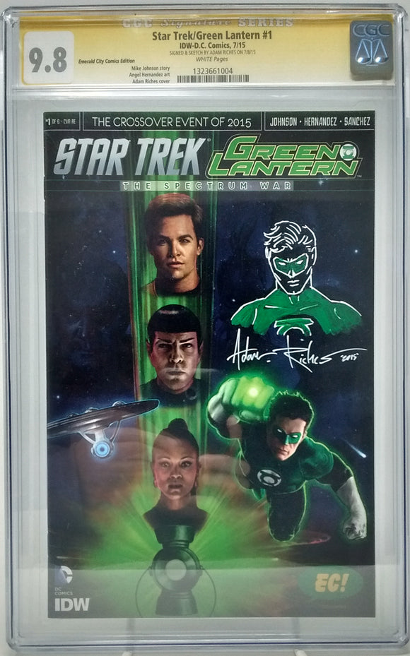 STAR TREK/ GREEN LANTERN #1 - CGC 9.8 EC EXCLUSIVE COVER SIGNED AND SKETCH BY ADAM RICHES