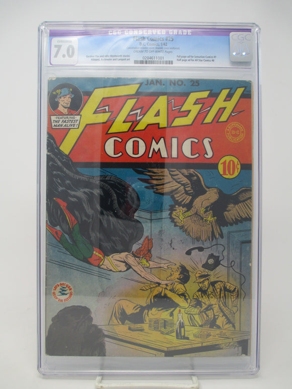 Flash Comics #25 ~ DC 1942 ~ CGC 7.0 ~ Second Hawkgirl Appearance