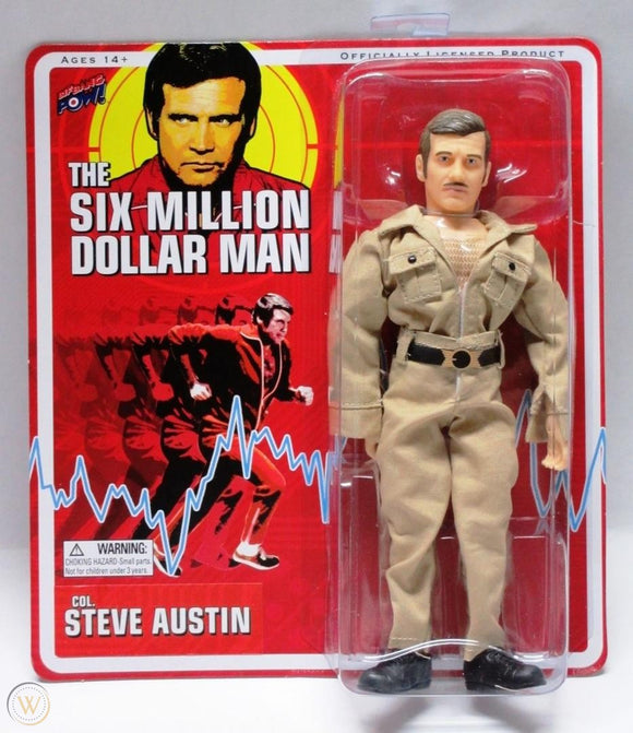 SIX MILLION DOLLAR MAN STEVE AUSTIN (MUSTACHE) KHAKI SUIT RETRO AF 8 IN