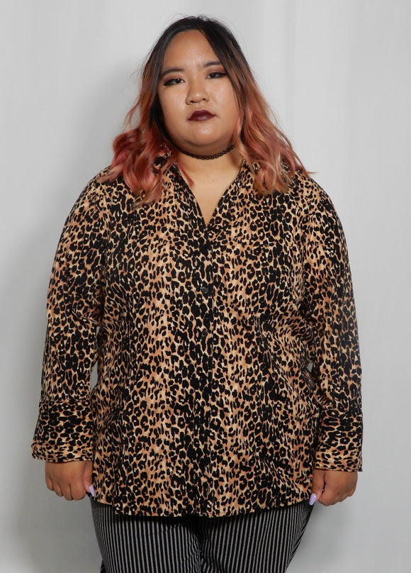 XL Cheetah Print Button-Up