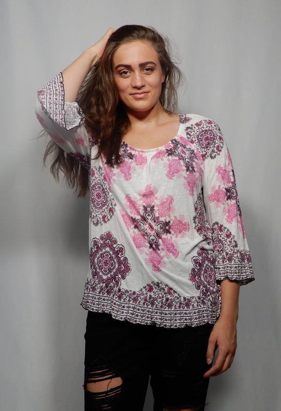 Large Pink Floral Blouse