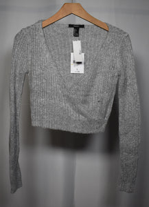 Large Deep V Cropped Sweater