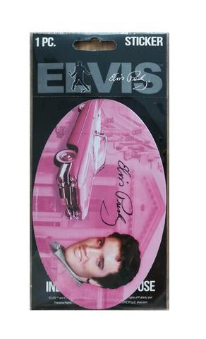 Sticker Elvis Oval Pink W/Guitars
