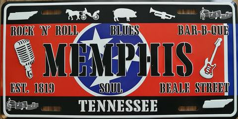 License Plate Memphis,TN. Icons Est.1819