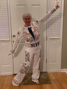 Pajama pant Set Elvis White Jumpsuit/ Could Be  Halloween Costume Too