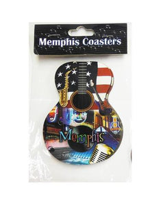 Coaster Memphis Guitar American Flag Collage Set of 4