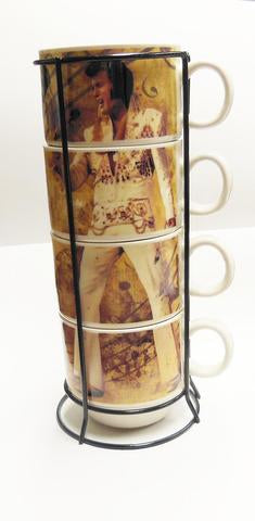 "Elvis Mug - Coffee Cup Stackable - 4- PC/Rack - 10"" Tall - Hold 5 OZ ea cup -"