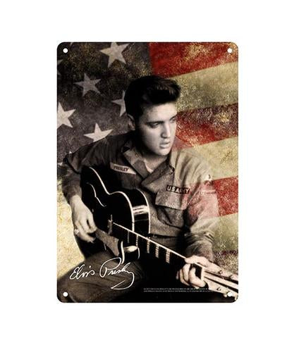 Elvis Sign Flag Army - 8x11.8-