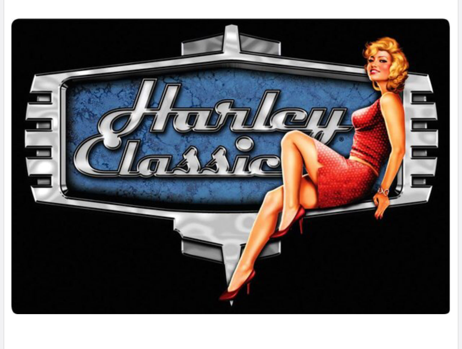 Retro Babe Pin Up Harley-Davidson Embossed Metal Sign