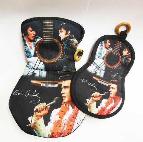 Pot Holder/Oven Mitt Set Elvis Guitar Shape