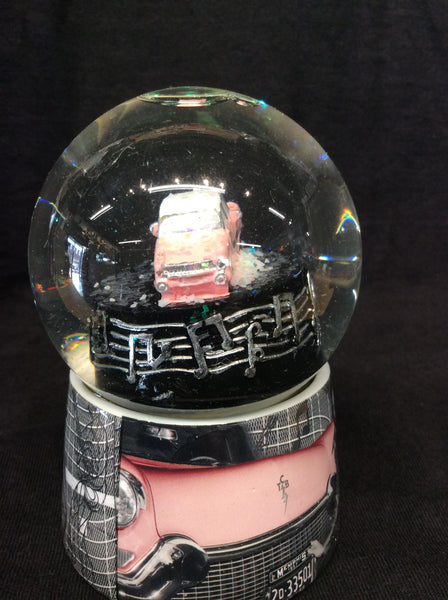 SnowGlobe Elvis Pink Car