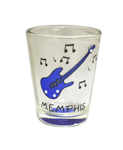 Shot Glass Memphis Blue Guitar/Clear Stones
