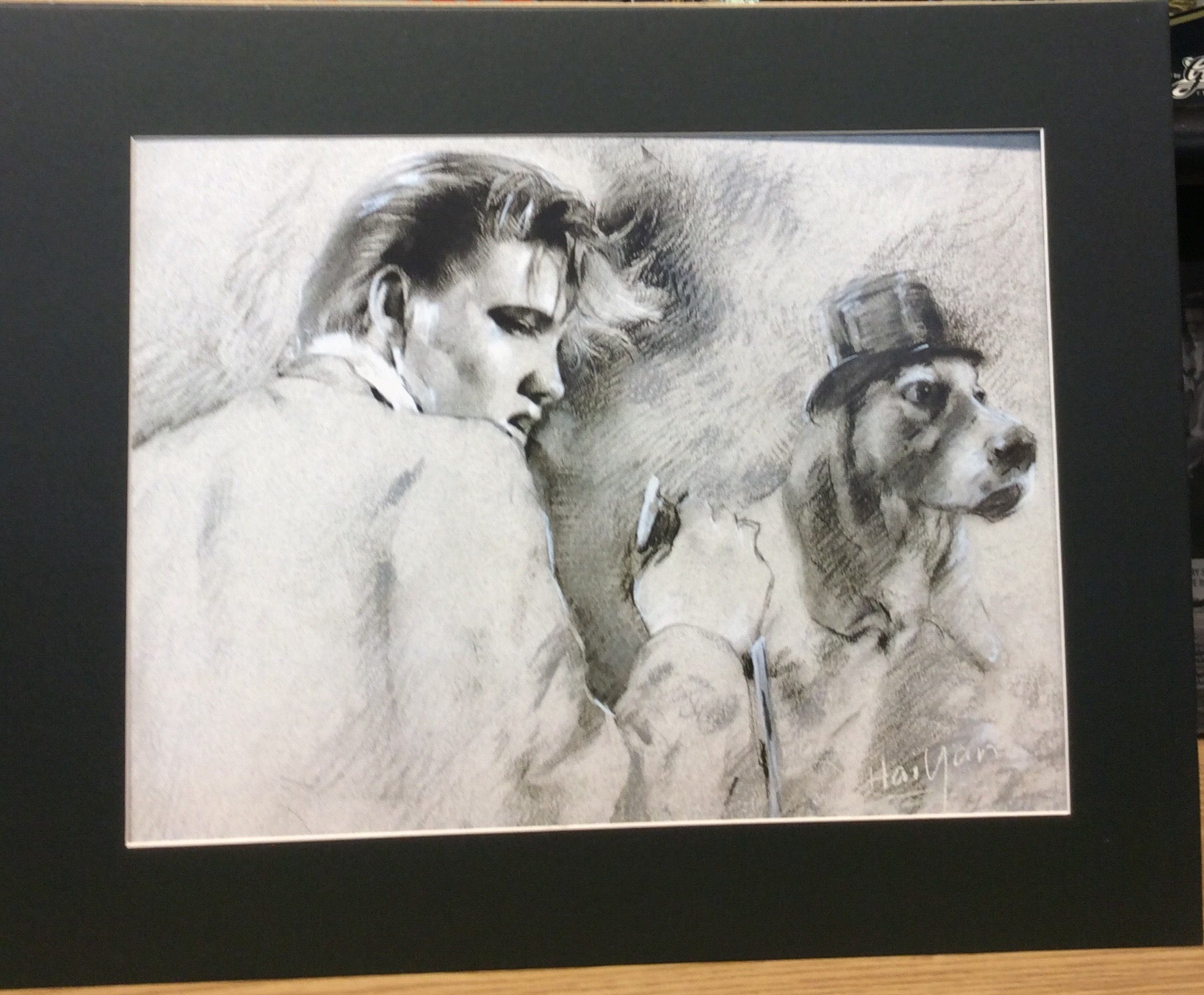 Matted drawing of Elvis and Basset Hound dog