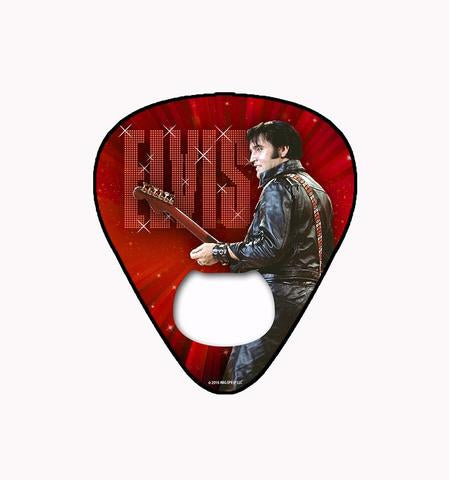 Bottle Opener Magnet Elvis Guitar Pick '68 Red Name in Lights
