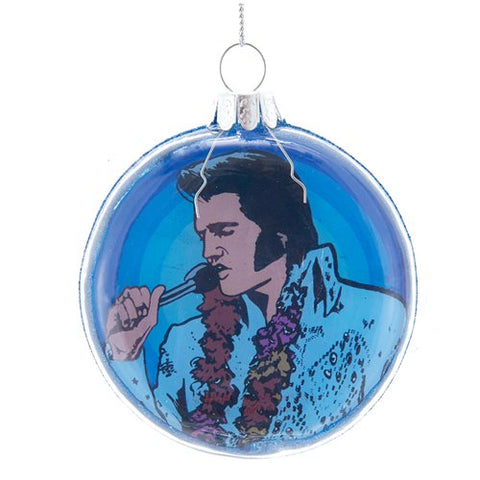 Elvis Presley Bubble 3 1/7-Inch Glass Disc Ornament