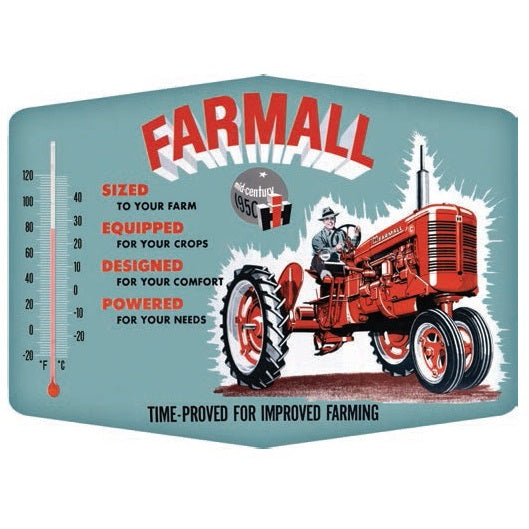 "Farmall Improved Thermometer Die-Cut Embossed Tin Sign  14"" x 10.25"""