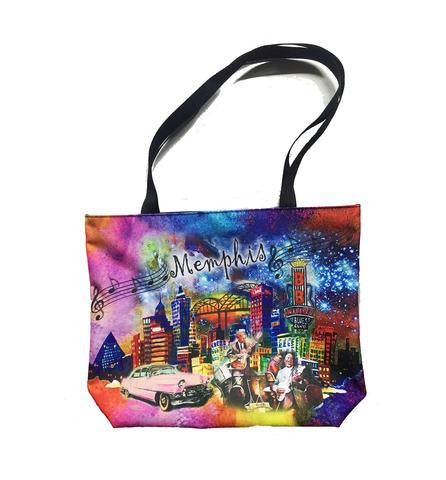 Tote Bag Memphis Skyline Collage Colorful