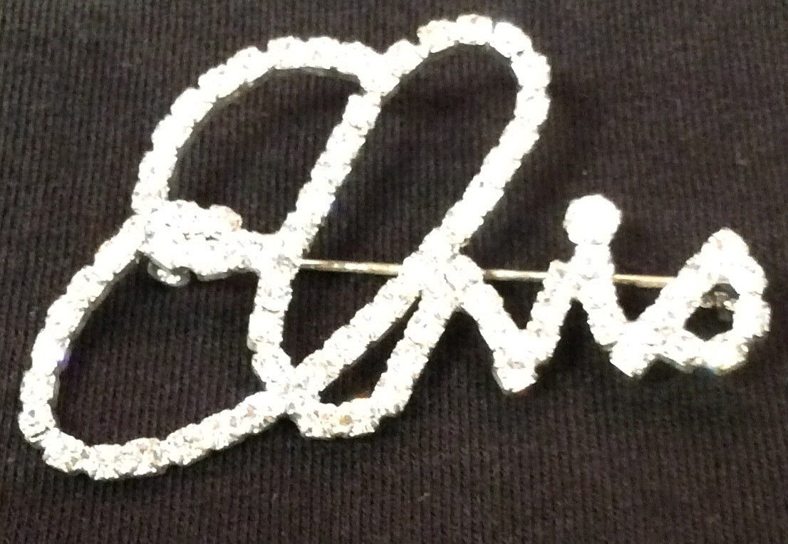 Pin Elvis Signature Clear Rhinestones