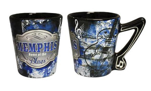 Shot Glass Memphis Metallic Home Of The Blues W/Music Note Handle